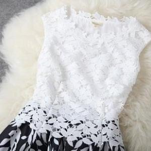 Leaves Stitching Lace Embroidered D..