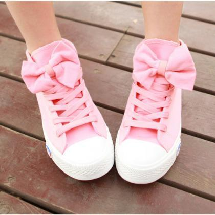 High Help Lovely Bowknot Canvas Sho..