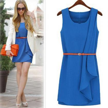 Fashion Solid Color Sleeveless Irregular Hem Dress