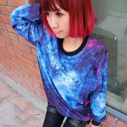 Chic Women'S Galaxy Space Starry Pr..