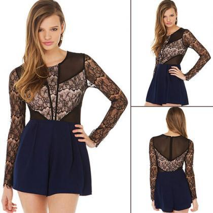 Fashion Lace Spliced Long Sleeve Ro..