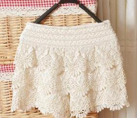 White Hollow Lace Sh..