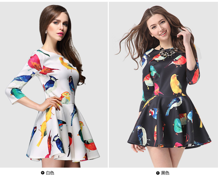 Sleeves Birds Printed Dress