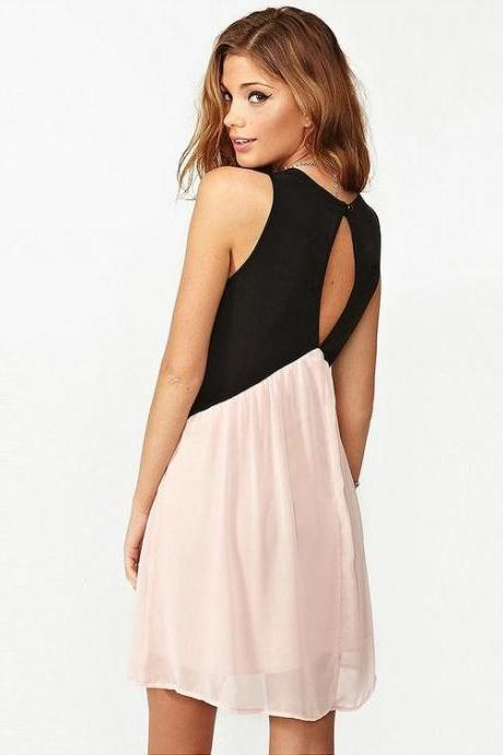 Fashion V-Neck Sleeveless Chiffon Dress