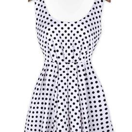 Three Color Dot Backless Bowknot Dress