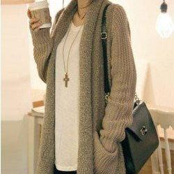 Loose Plush Knit Cardigan Sweater L