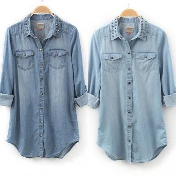 HOT Womens Retro Long Sleeve Blue Jean Denim Tops Blouse Rivet SDQ