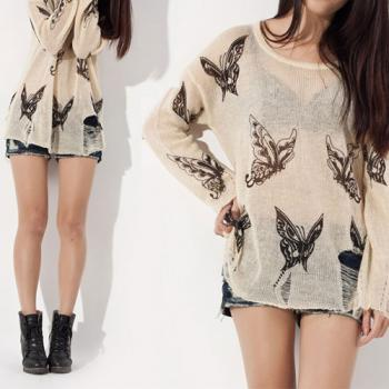 Punk Style Loose Fitting Frayed Butterfly Print Shirt - Apricot