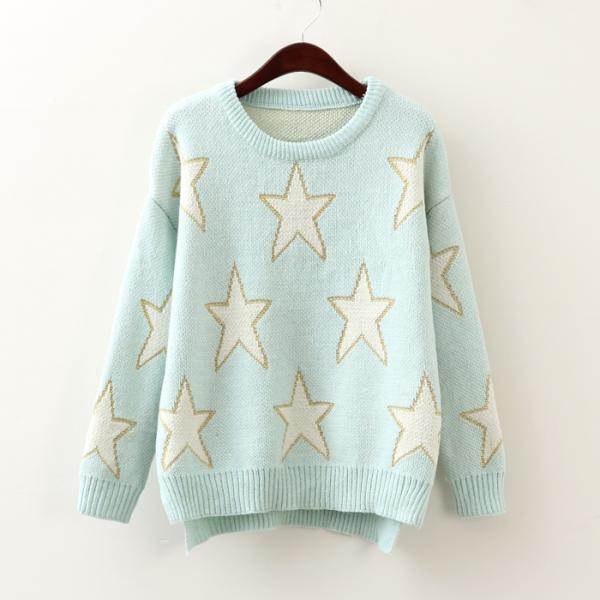 Pentagram Light Blue Pullover Sweater