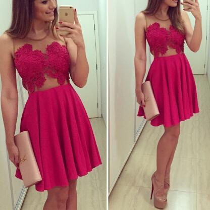 Red V Collar Lace Yarn One-Piece