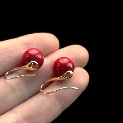 Temperament Linked Pearl Earrings Long Red Earrings Fashion Stud Earrings